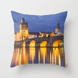 The Charles Bridge in Prague, Czech Republic at night Throw Pillow