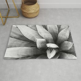 Botanical Succulents // Black and White Desert Cactus High Quality Photograph Rug