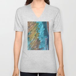 Blue and Gold Abstract Painting Unisex V-Neck