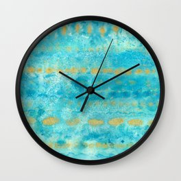 Gold in Deep Turquoise watercolor art Wall Clock