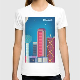 Dallas, Texas - Skyline Illustration by Loose Petals T-shirt