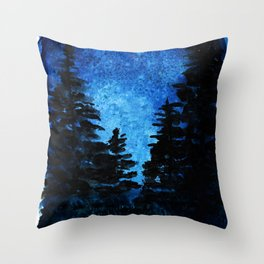 Blue Sky - Evergreen Trees Throw Pillow