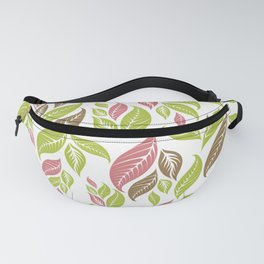 Retro Vintage Inspired Leaf Print in Modern Pink Green Brown Fanny Pack