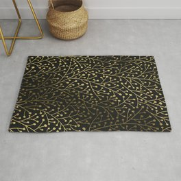Gold Berry Branches on Black Rug