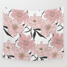 Peony flower bloom Wall Tapestry