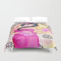 deco Duvet Covers featuring Deco Lady by Judy Skowron