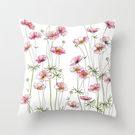 Pink Cosmos Flowers Throw Pillow
