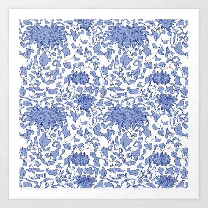 Chinoiserie Vines in Delft Blue + White Kunstdrucke