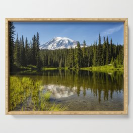 Mt Rainier from Reflection Lake, No. 3 Serving Tray