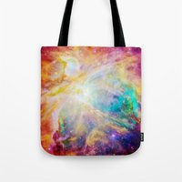 nebula Tote Bags featuring nEBula : Colorful Orion Nebula by 2sweet4words Designs
