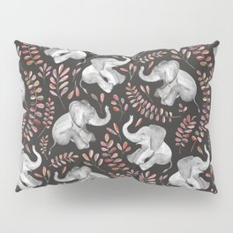 Laughing Baby Elephants - Coral Pillow Sham
