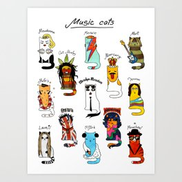 Famous Music Cats – Most Popular Musicians of the World Art Print