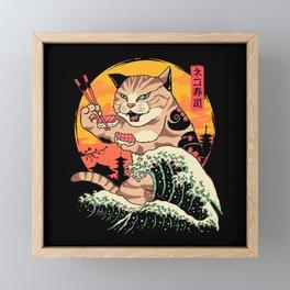 Neko Sushi Wave Framed Mini Art Print