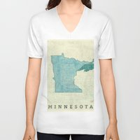 minneapolis V-neck T-shirts featuring Minnesota State Map Blue Vintage by City Art Posters