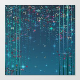 Magic fairy abstract shiny background with stars Canvas Print