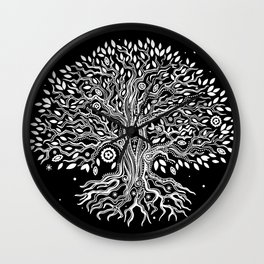 Black Tree of Life, Bohemian Tree, Black and White Tree, Boho Tree Art Wall Clock