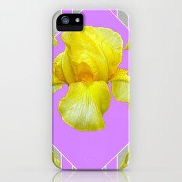 YELLOW SPRING IRIS LILAC GEOMETRIC ART DESIGN iPhone Case