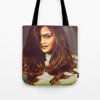 jenna kutcher Tote Bags featuring Dedication Artwork: Jenna Coleman (1 of 2) by InnerSymbiance