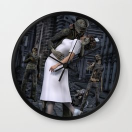 Zombies Kiss  Wall Clock