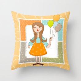 Adorable Cute Girl and Her Balloons Throw Pillow
