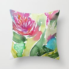 Floral abstraction || watercolor Throw Pillow