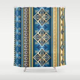 Blue and Gold Fleur de Lis Pattern Shower Curtain