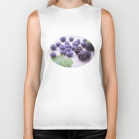 fruits Biker Tanks featuring Blue Fruits by Tanja Riedel