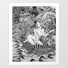 Surf Goddess of Wave Island Art Print