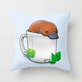 Pla-TEA-pus Throw Pillow