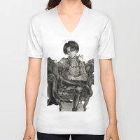 levi V-neck T-shirts featuring Levi Ackerman by OtakuRuki