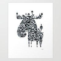 elk Art Prints featuring Elk by Ingunn Dybendal