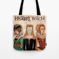 art history Tote Bags featuring History Witch Logo Art by The History Witch