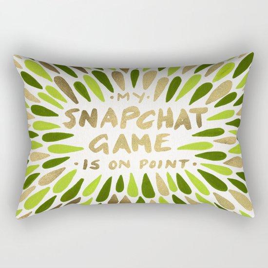 Snapchat – Green & Gold Rectangular Pillow