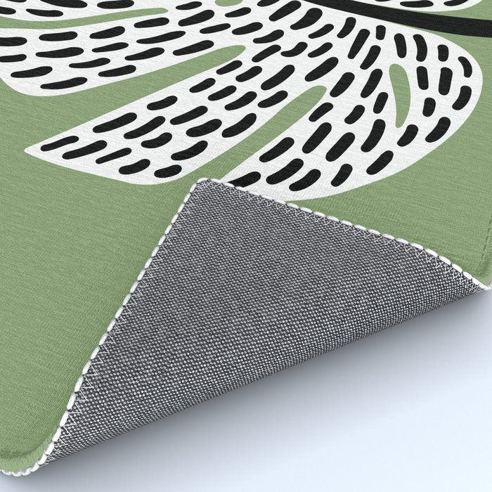 Abstract Monstera Leaf green Rug