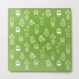 White cactus pot outlines seamless pattern on green background Metal Print