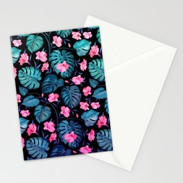 Modern neon pink blue green tropical floral illustration Stationery Cards