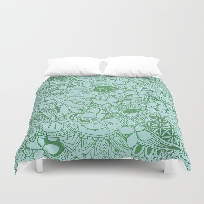 Blue square, green floral doodle, zentangle inspired art pattern Duvet Cover