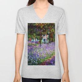 "Claude Monet ""Irises in Monet's Garden at Giverny"", 1900 Unisex V-Neck"