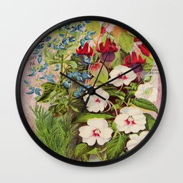 Vintage Flowers Advertisement Collage Wall Clock