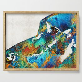 Colorful Dog Art - Loving Eyes - By Sharon Cummings Serving Tray