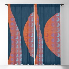 Digital Blue Denim and Glowing Orange Moon and Star Blackout Curtain
