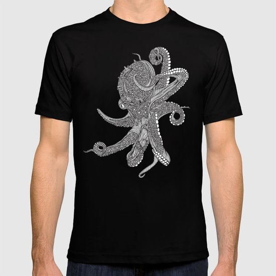 Octopus Bloom black and white T-shirt