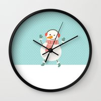 snowman Wall Clocks featuring Snowman by Mr and Mrs Quirynen