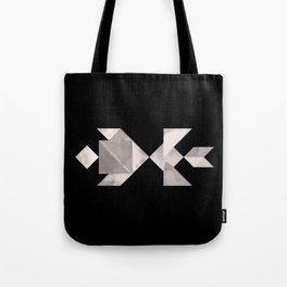 Tangram Fish in love - black and white Tote Bag