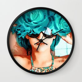 Lovers and flowers Wall Clock