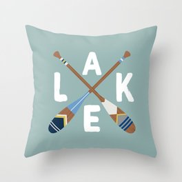 LAKE LIFE Painted Paddle Oars Throw Pillow