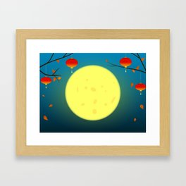Autumn night scene in oriental style. #moon #autumn #japan #chinese Framed Art Print