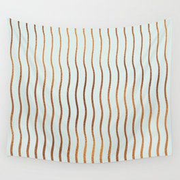 Mint Green Rose Gold Stripes Wall Tapestry