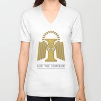 warhammer V-neck T-shirts featuring For the Emperor by Imperial Diet