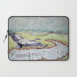 Flight of the Great Blue Heron, Trojan Oregon painting Laptop Sleeve